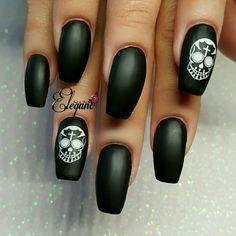 Black Matte Nails with White sugar skull stamp