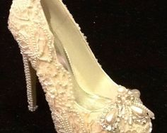 Wedding Bridal  Shoes Hand Made Rhinestones Pearls Lace
