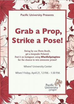 Win Amazing Prizes by Pacific University Oregon @USA. Grab a Prop, Strike a Pose here !!. Event on April 21. https://twitter.com/pacificu