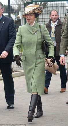 Princess Anne, dressed in green tweed, wasaccompanied by Cheltenham Committee chairman Robert Waley-Cohen. The keen equestrienne also joined daughter Zara in a private box on Tuesday's Champion Day