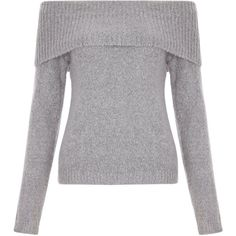 New Look Teens Grey Fold Over Bardot Jumper (£18) ❤ liked on Polyvore featuring tops, sweaters, shirts, grey, jumper, grey shirt, grey sweater, long sleeve shirts, cuff shirts and grey long sleeve shirt