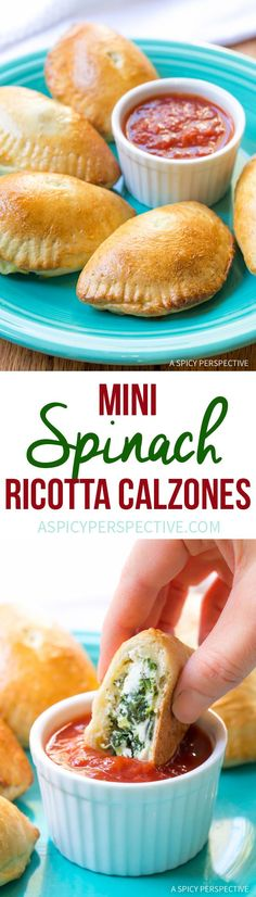 Fresh Mini Spinach Ricotta Calzone Recipe on http://ASpicyPerspective.com. Great method, could vary ingredients