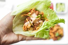 Spice it up and make copycat Szechuan chicken lettuce wraps with spicy mayo from the comfort of your own home with this easy to follow recipe. Plus, it is healthier than the original! | aheadofthyme.com