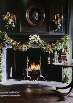 Upstate Christmas Decor: Veranda - Putnam & Putnam For the Veranda Christmas issue we decked an upstate house with citrus garlands, wreaths, and a dried orange slice ornamented tree to remember. Christmas Fireplace, Christmas Mantels, Christmas Home, Christmas Holidays, Christmas Decorations, Xmas, Christmas Villages, Christmas Trees, Fireplace Garland