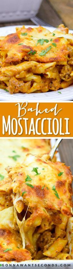 This easy Baked Mostaccioli is loaded with ooey gooey cheese and yummy Italian sausage all smoothered in a creamy tomato sauce.
