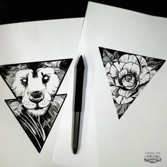 Brand new triangle shaped blackwork designs from Logios! #saketattoocrew #logios #triangle #blackwork #lion #rose #flowers #design #sketch