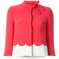 Red Valentino Scalloped Edge Crop Jacket (28.670 RUB) ❤ liked on Polyvore featuring outerwear, jackets, blazer, coats, red valentino, red blazer jacket, red jacket, red blazer and blazer jacket