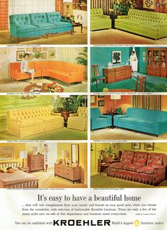 Why can't i find any of these exact couches anywhere? I love this style Kroehler Furniture ad, 1962