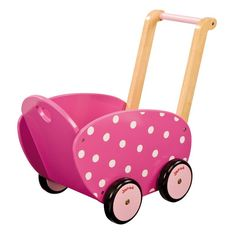 Our sweet polka-dot Heart Doll Pram rolls smoothly as your littlest pushes her favorite dolls around the house. Great for emerging and new walkers, this pram is sturdy and provides support during thos