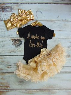 I woke up like this Bodysuit - Gold Glitter Newborn, Infant, Toddler Shirt - One Piece Outfit - Ann Marie Avenue - Coming Home Outfit - I like the onesies, but not the tutu or the other thing. Little Girl Fashion, My Little Girl, My Baby Girl, Little Princess, Kids Fashion, Baby Girls, Future Daughter, Future Baby, One Piece Outfit