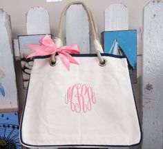 9 Natural Canvas Rope Tote Personalized by elrileyembroidery, $216.00
