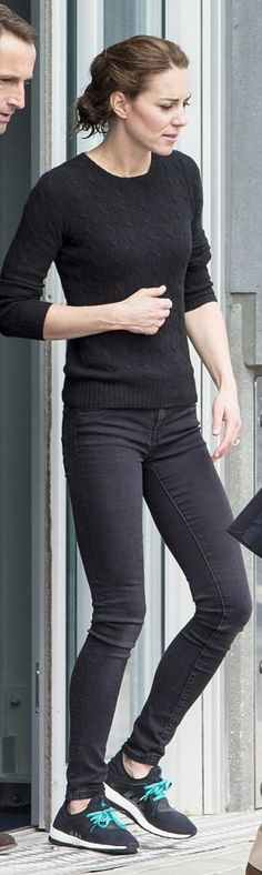 Who made Kate Middleton's black sneakers and cable knit sweater?