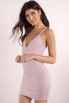 Purple Dresses, Mauve, Brianna Strappy Bodycon Dress, Tobi