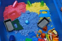 Moon Sand is super easy to make  9 cups Flour  1 1/4 cup baby oil  To make colored Moon Sand  1/8 of a cup of Powdered Tempera Paint to the above recipe split into three so per 3 cups flour add 1/8 cup powdered tempera mix well and then add baby oil