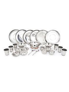 2a32ad280b Buy Mahavir multi color stainless steel Online, , LimeRoad Dinner Set  Online, Dinner Sets