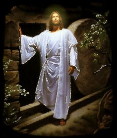 See Image of Jesus in a white suit in a rock building with movement and brightness next to the phrase: Jesus Christ is alive! Jesus Our Savior, God Jesus, Baby Jesus, Image Jesus, Pictures Of Jesus Christ, Divine Mercy, Blessed Mother, Christian Art, Lord