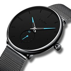 CIVO Mens Black Ultra Thin Watch Minimalist Fashion Waterproof Wrist Watches for Men Business Dress Casual Luxury Quartz Watch for Man with Stainless Steel Mesh Band and Sub Dial Used Watches, Gents Watches, Stylish Watches, Casual Watches, Sport Watches, Cool Watches, Watches For Men, Wrist Watches, Black Watches