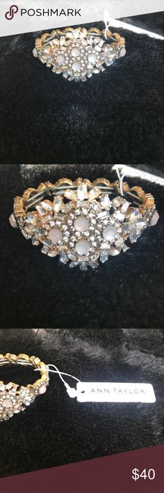 NWT beautiful Ann Taylor bracelet Beautiful crystal/ pale pink encrusted .. the elasticity adds stretching making this a one size fits all.. excellent condition Ann Taylor Jewelry Bracelets