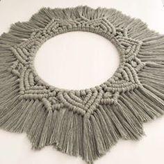 No photo description available. Macrame Mirror, Macrame Art, Macrame Design, Pretty In Pink, Dream Catcher, Crochet Necklace, Fiber, Mandala, Creative