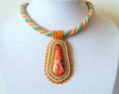 Bead Embroidery Beadwork Pendant Necklace with Orange sea sediment jasper - ORANGE BREEZE - orange - turquoise - ivory - beige