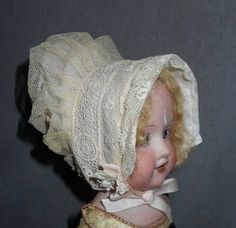 Antique/Vintage Doll Hat - Bonnet - Ivory Mesh w/Lace Bands