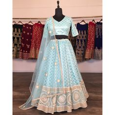 Sky blue net heavy lucknowi work wedding lehenga choli