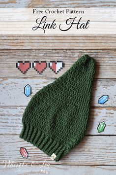 FREE Crochet Pattern: Crochet Link Hat   Inspired by a famous and classic video game hero, and perfect for a costume! Adult and Child sizes included.