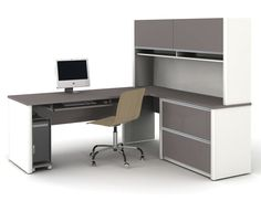 furniture modern l shaped white gray solid wood desk with shelf and cabinet storage combination brilliant wood office desk