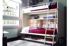 Litera para colchón de 90x190 cm. Mide 202 cm de largo, 100 cm de fondo y 176 cm de altura. Cama superior elevada y cama inferior abatible horizontal con mesa. El interior de la cama abatible dispone de estanterías. Incluye escalera metálica a suelo y quitamiedos. Acabado en chapa natural y blanco. Hay más colores disponibles para que diseñe el mueble a su gusto.