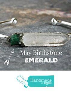 Clear Quartz and May Birthstone Emerald Boho Gypsy Spiritual Healing Raw Rough Natural Crystal Gemstone Stone Gold or Silver Cuff Bangle Bracelet with Pyrite from Lea Spirit http://www.amazon.com/dp/B01ATRFJZY/ref=hnd_sw_r_pi_dp_5pQgxb0EXTXRM #handmadeatamazon