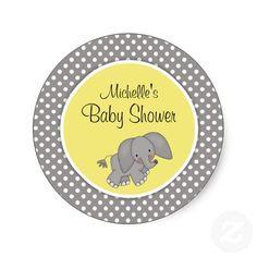 Cute Yellow Elephant Gender Neutral Baby Shower Sticker