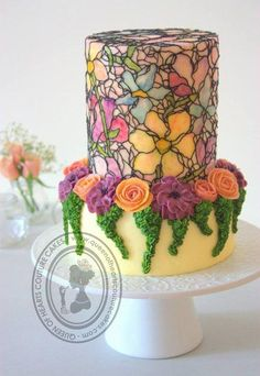 """Color is to the eye what music is to the ear."" - Louis Comfort Tiffany What does ""stained glass"" make you think of? How about gorgeous cakes? (By Queen of Hearts Couture Cakes ) Ooh la la! Buttercream Decorating, Buttercream Cake, Fondant Cakes, Cupcake Cakes, Cake Decorating, Buttercream Flowers, Shoe Cakes, Gorgeous Cakes, Pretty Cakes"