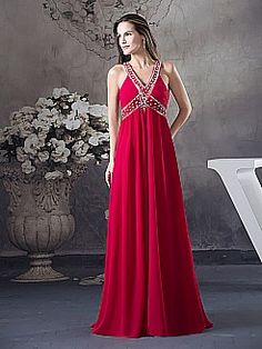 Beaded V Neck Chiffon Evening Dress with Cross Straps Back - USD $126.00