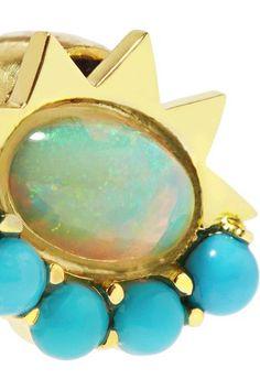 Ileana Makri - 18-karat Gold, Turquoise And Opal Earrings - one size