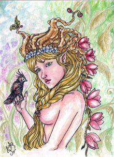 Original da pintura em aquarela feita por mim, retratando uma mulher loura, cuja fronte é encimada por uma coroa de galhos e flores que se ramificam e se entrelaçam em um arranjo selvagem e harmonioso. Uma ramagem florescida em lírios rosa decaem sob suas costas desnudas, uma trança dourada repousa entre seus seios. Em sua mão esquerda descansa um pássaro de crista negra e encaracolada. Atrás de si nuanças de uma paisagem selvagem e misteriosa.  O desenho apresenta características da ?Art…