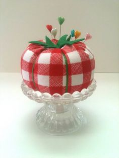 adorable gingham tomato pincushion --I just realized that a pincushion cake would be amazing and adorable.