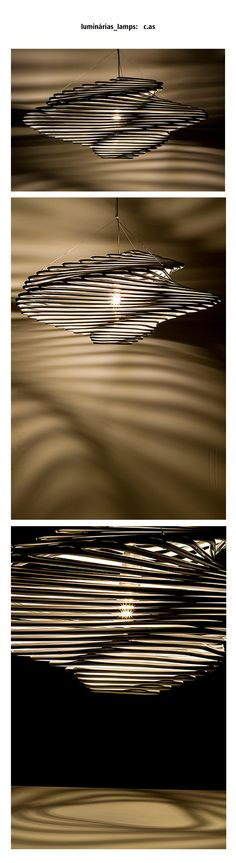 """c.as é um pendente baseado em uma técnica chamada """"dobradura de íris"""" que nasceu na Holanda. Ela tem este nome porque o centro do trabalho lembra a íris do olho ou de uma câmera fotográfica durante o movimento espiral durante uma abertura.  autora: Andrea Macruz foto: Flavio Sampaio ano: 2016 material: plastico com tinta metalizada medidas: +- 90cm Ø x 40cm altura"""