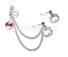 Rose Heart Hello Kitty Ear Cuff Set. $10.49, via Etsy.