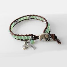Elephant Lucky Charm Leather Wrap Bracelet by Wrapped In Leather