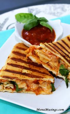 Quick Chicken Parmigiana Panini - a shortcut recipe that is perfect for lunch or a light dinner.  Step-by-step photo tutorial.