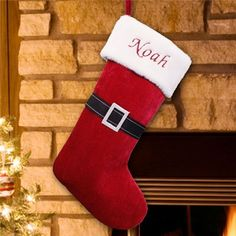 Santa Suit Christmas Stocking   Embroidered Santa Suit Christmas Stocking