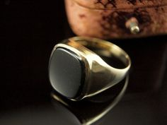 Vintage Mens Ring 9k Gold Onyx Rings for Men by BelmontandBellamy, £95.00