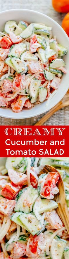 This CLASSIC creamy cucumber and tomato salad is so simple to make and is our go-to summer salad. An easy, excellent cucumber tomato salad. KEEPER! | natashaskitchen.com by lorraine Creamy Cucumber Tomato Salad, Cucumber Yogurt Salad, Tomato And Onion Salad, Cucumber Drink, Cucmber Salad, Cucumber Ideas, Cucumber Salad Vinegar, Cooked Cucumber, Cucumber Salad Dressing