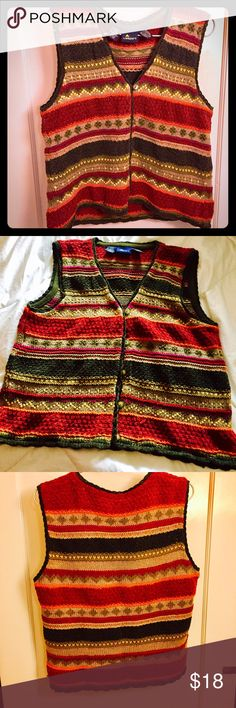 Multicolored vest cardigan A beautiful, multicolored button-up cardigan by LIZSPORT, Liz Claiborne.  Size L.  Uniform pattern in front and back.  55% cotton/45% acrylic.  Gently worn and in excellent shape with no flaws. Liz Claiborne Other