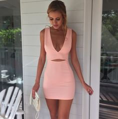 Slim V-Neck Sleeveless Pink Dress