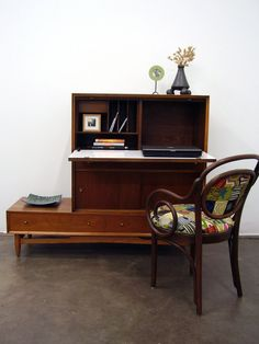 00dae6c0693 RESERVED for LUZ   JENS Mid Century Modern Secretary Desk Storage Final  Payment