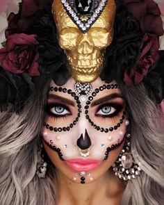 """Gefällt 539 Mal, 28 Kommentare - ----♡ Da Dollitaz ♡---- (@dadollitaz) auf Instagram: """"This was my first costume for Carnival at work -♥GLAM SUGAR SKULL♥- ----HEADPIECE diy----…"""""""