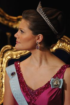 Crown Princess Victoria of Sweden attends the Nobel Foundation Prize 2008 Awards Ceremony at the Concert Hall on December 10, 2008 in Stockholm, Sweden