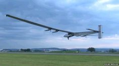"""Solar plane makes inaugural flight. Pilot Bertrand Piccard: """"It's the wingspan of a jumbo jet and the weight of a car"""" A solar-powered plane that will be taken on a round-the-world journey in 2015 has made its inaugural flight. The Solar Impulse 2 vehicle lifted off from Payerne airfield in Switzerland at just after 03:35 GMT (04:35 BST; 05:35 CEST), returning two hours later."""