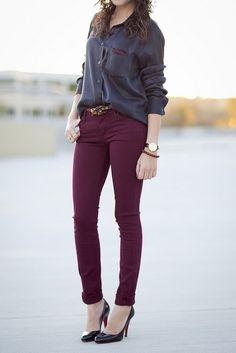 Merlot jeans & black silk